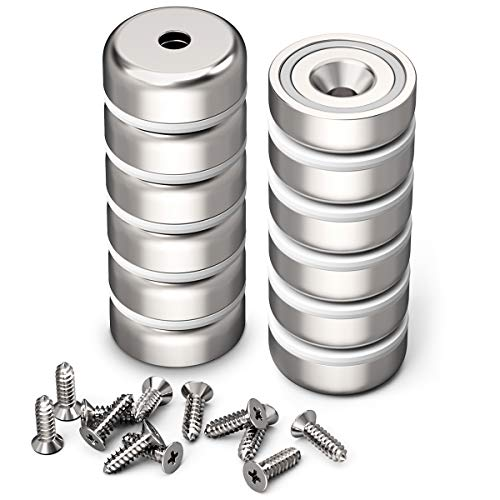 GREATMAG Cup Magnets with Countersunk Hole, Magnet with Screw, Industrial Strength Round Base Magnets, 60 lbs Holding Force, Pack of 12