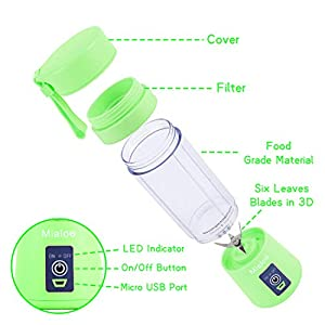 Portable Blender, Personal Size Eletric USB Juicer Cup, Fruit, Smoothie, Baby Food Mixing Machine with Updated 6 Blades,Magnetic Secure Switch Electric Fruit Mixer for Superb Mixing 380ml(Green)