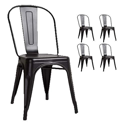 KOSMI - Juego de 4 sillas de metal negro estilo industrial negro mate FÁBRICA