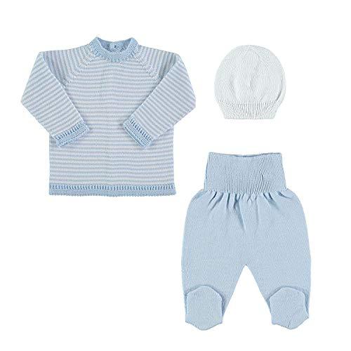 Petit Oh! - Conjunto de Punto para bebé de Jersey, Polaina y Gorro. 100% algodón
