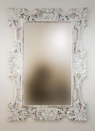 Rococo Espejo Decorativo de Madera Eiffell de 70x100cm en Blanco decapado