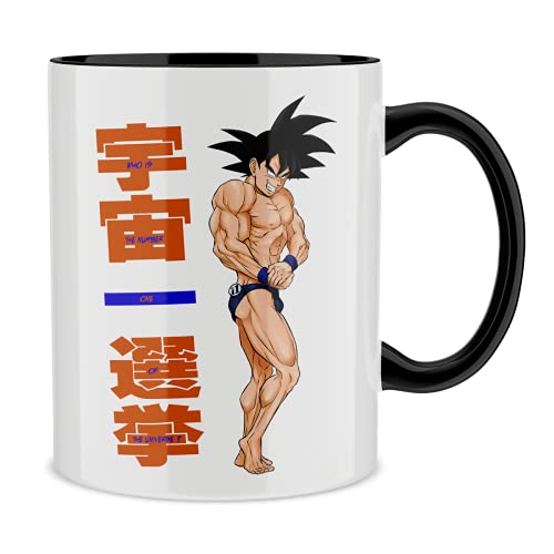 Okiwoki Mug avec Anse et intérieur de Couleur (Noir) - Parodie Dragon Ball Z - DBZ - Sangoku - Mister Univers - Candidat N° 11: (Mug de qualité supérieure - imprimé en France)