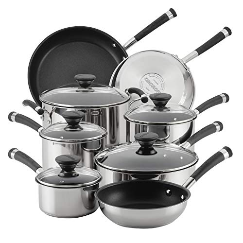 Circulon 70514 Acclaim Stainless Steel Cookware Pots and Pans Set, 13 Piece, Black Image