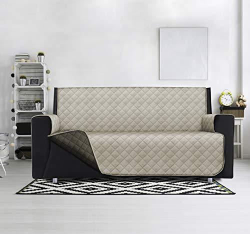 SOPHIE Funda de sofá acolchada, antimanchas, impermeable, reversible, modelo Lello (beige/fango, sillón de 165 x 180 cm, reposabrazos incluidos)