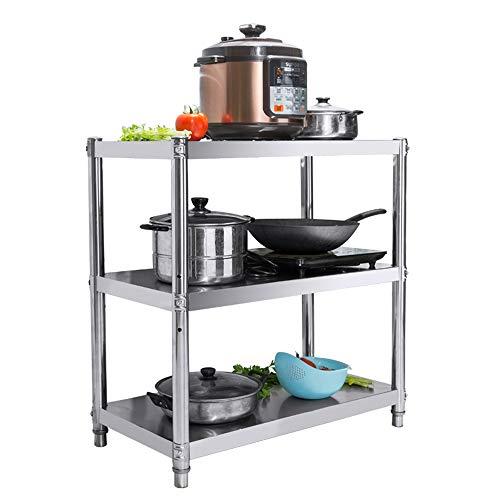 Dreistufiges Küchengestell aus Edelstahl, mehrlagiges Lagerregal für den Boden, Mikrowellenregal, Ablagefach, Größe: 70 * 40cm