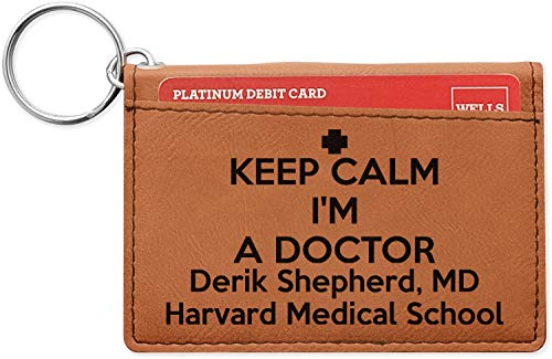 Medical Doctor Leatherette Keychain ID Holder - Double Sided (Personalized)