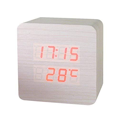 ZXL digitale tafelklok van hout met thermometer voor wekker acus-klok elektronische tafelklok wit rood