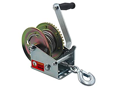 TYT 1600lb Boat Trailer Winch, Heavy Duty Hand Winch with 8M(ft) Steel Wire Cable and Pawl, Handle Crank Manual Winch for ATV SUV Boat Trailer Use Pulling Winch