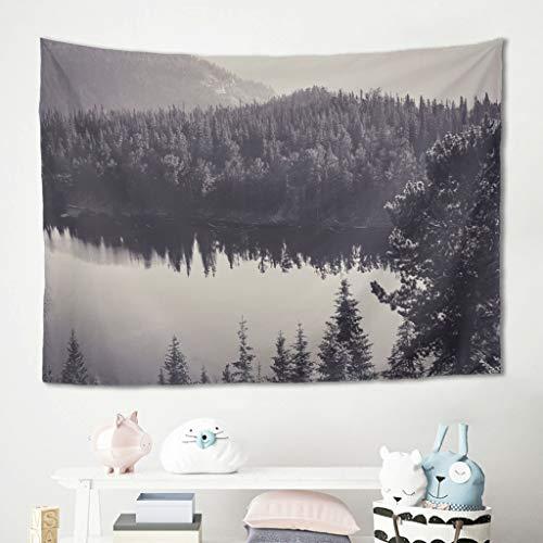 Gamoii Tapiz de pared con árboles, río, paisaje, bosque, reflexión, para colgar en la pared, para picnic, playa, meditación, yoga, se puede lavar a máquina, 150 x 150 cm, color blanco
