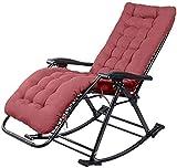 DKee Silla mecedora plegable, tumbona ajustable, asiento de gravedad cero, silla mecedora comercial de jardín, silla de jardín para exteriores, jardín, terraza, patio, soporta 230 kg