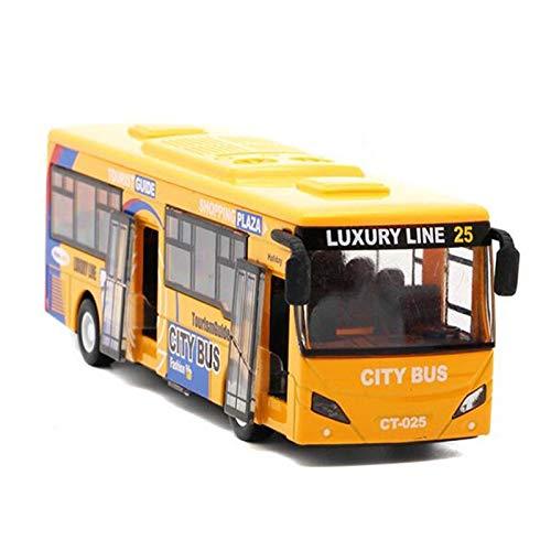 TOOGOO 1:32 Modelos de AutomóViles de AleacióN, AutobúS Urbano de Alta SimulacióN, FundicióN a PresióN, VehíCulos de Juguete, Retroceso y Parpadeo y Musical,, Amarillo