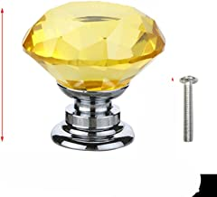 20 30 40mm Diamond Shape Design Crystal Glass Knoppen Kast Lade Pull Keukenkast Deur Garderobe Handvatten met Schroef-Geel