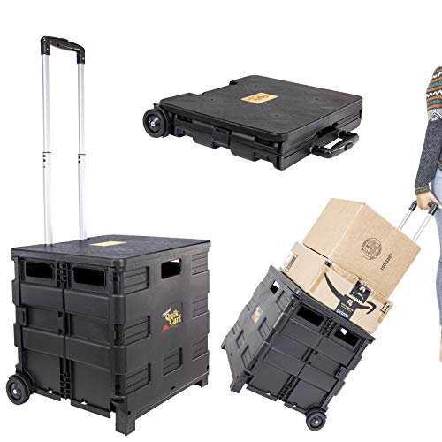 dbest products Quik Cart Two Wheeled Collapsible Handcart with Black Lid Rolling Utility with Seat Heavy Duty Lightweight