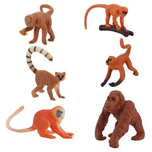 TOYANDONA 6 Pezzi di Figure di Scimmia Giocattoli Realistici di Plastica Figurine di Scimmia Toppers...