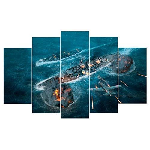 Leinwand HD-Drucke Malstock An Der Wand Für Wohnzimmer 5 Panel World Of Warship Landschaft Wohnkultur Modulare Bild 200x100 cm