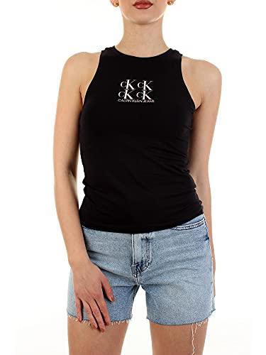 Calvin Klein Jeans Shine Logo Racer Back Top Collare spalmato, CK Nero, S Donna