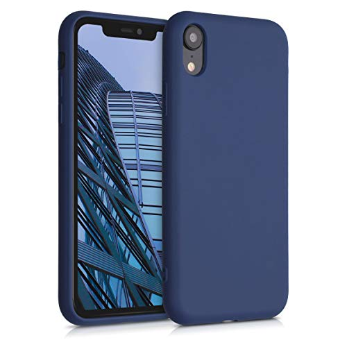 kalibri Carcasa Compatible con Apple iPhone XR - Funda de TPU y Trigo Natural ecológico - Azul Oscuro