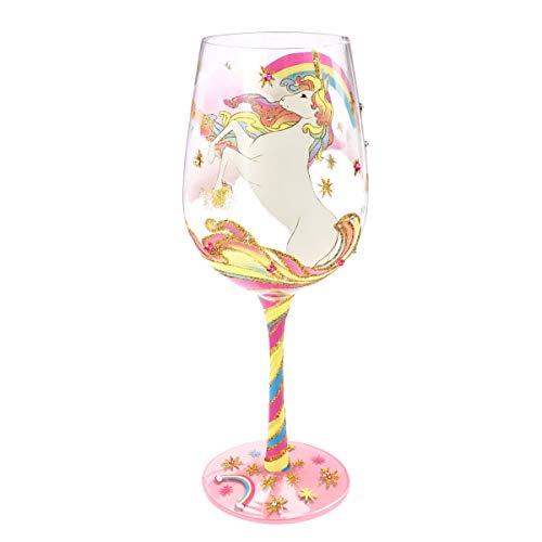 NymphFable Copa de Vino Pintada a Mano Unicornio Arcoiris Copa de Vino Tinto 15 oz para Cumpleaños, Bodas, Fiestas de Compromiso