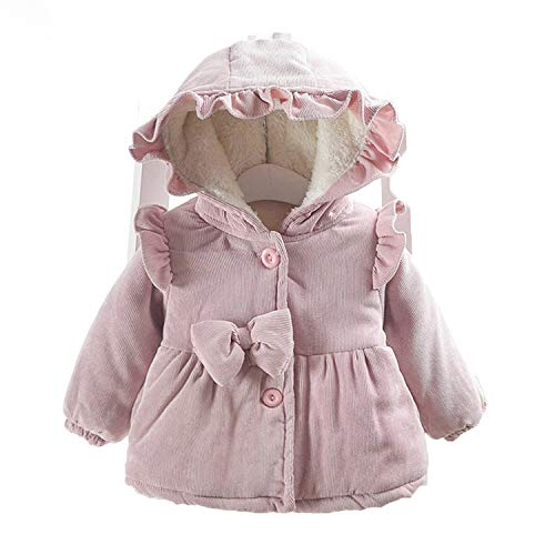 New Children Warm Winter Coats for Baby Girls Infant Kids Ruffle Bow Hooded Thicken Velvet Parkas Princess Outwear Pink 12M
