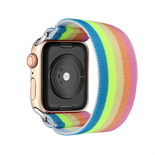 TGGFA Loop Banda Bohemia elástico de Nylon for Apple Seguir 6SE Correa 38/40 mm 42/44 mm for IWATCH 5/4/3 2 Hombre Mujeres Ver Banda (Band Color : Rainbow, Band Width : 42mm 44mm M L)
