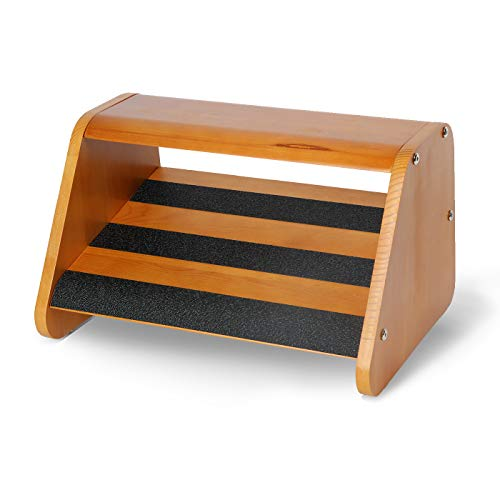 J JACKCUBE DESIGN Wood Double Step Foot Rest Under Desk Ergonomic Design Footrest with Non Slip Surface, Leg and Posture Support Comfort Foot Stool for Home and Office - MK721A