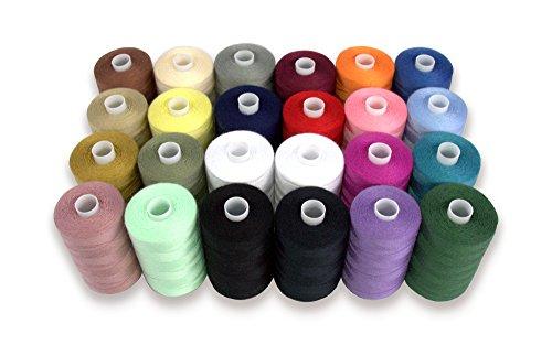 Ayuda de hilo poliéster Costura para mano y máquina de coser, 24carretes en varios colores, 1000m cada uno, doble de hilos en blanco y negro