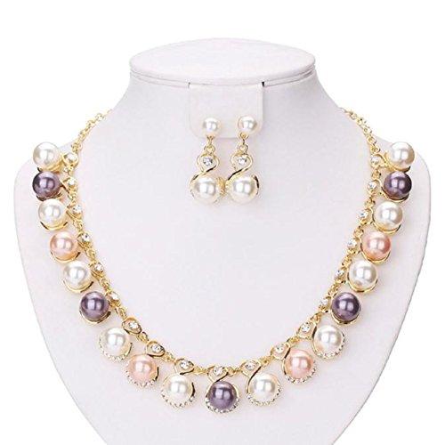 lclrute Collar Mujer Nuevo Lujo Mujer Mode Perla Collar Diamante Pendientes Joyas Set