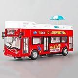 Xolye Alloy Sightseeing-Bus-Modell Sprachsendung Kinderspielzeugauto Simulation Ton und Licht Pull Back Boy Toy Car Double-Layer-Cabrio-Bus Spielzeug Auto-Geschenk (Color : Rot)