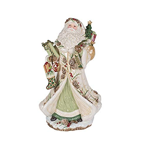 Fitz and Floyd Forest Frost Santa Collectible Figurine, Standard, White