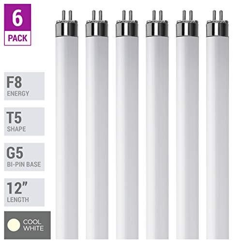 (Pack Of 6) F8T5/CW - T5 Fluorescent 4100K Cool White - 8 Watt - 12' Super Long Life Light Bulbs