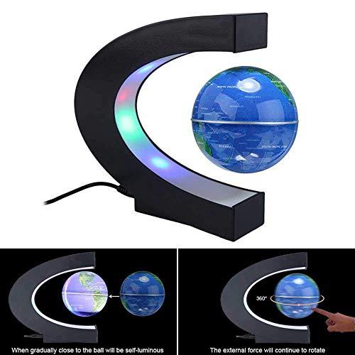 Teepao - Mappamondo fluttuante e rotante a levitazione magnetica, con luci a LED disposte a C, regalo educativo per bambini, decorazione per la scrivania a casa o in ufficio