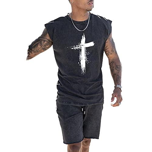 XDJSD Camiseta para Hombre Camiseta Corta Sin Mangas Chaleco para Hombre Talla Grande Camiseta Top Sin Mangas Camiseta Cruzada Top Pareja Top Suelto