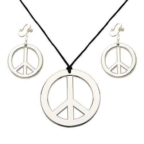 Widmann 7897H - Hippie Set, Kette mit Ohrringen, silber, Modeschmuck, Peace Zeichen, Schmuckset, Hippiekostüm, Karneval, Motto Party