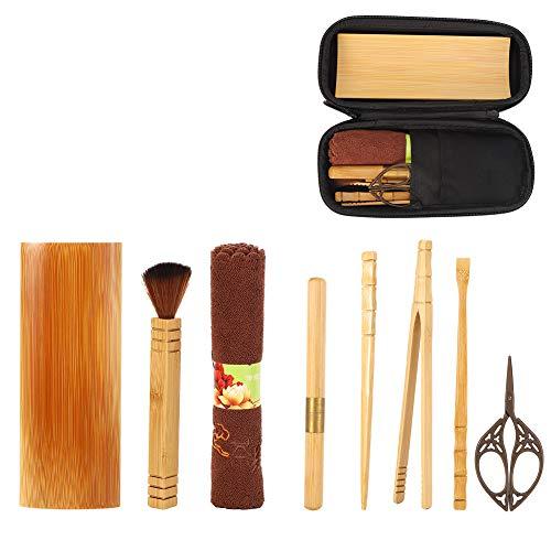 Household Bamboo Matcha Tea Set, Bamboo Tea Clip Scissor Towel Set Matcha Ceremony Starter Kit