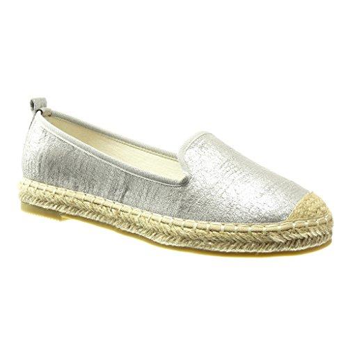 Angkorly - Damen Schuhe Espadrilles Mokassin - Slip-On - Schlangenhaut - glänzende Flache Ferse 2.5 cm - Silber LX128 T 40
