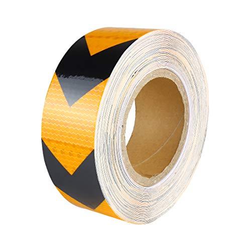 Larcele Nastro Adesivo Riflettente Adesivi di Sicurezza Rullo,Nero Giallo,2 inch x 82 Feet FGJ-01
