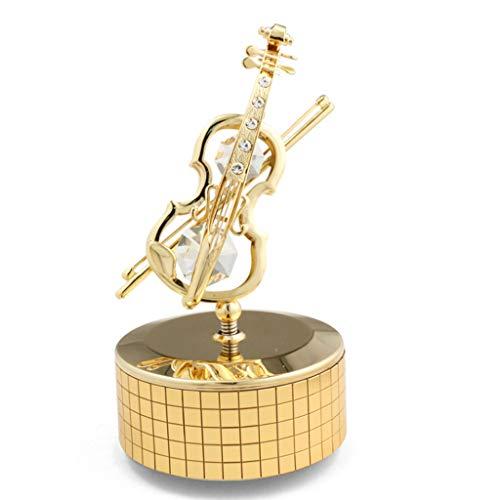 Xiaoli Caja de música Regalo Caja Movimiento Cristal Plateado del Oro Violín Caja de música de Viento de hasta Caja de música Musicales de Navidad Amistad Regalo de cumpleaños Cajas Musicales