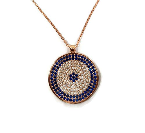 MYSTIC JEWELS By Dalia - Collar con Colgante de Ojo Turco Redondo Azul de Plata de Ley 925 con circonita cúbica (Rosada)