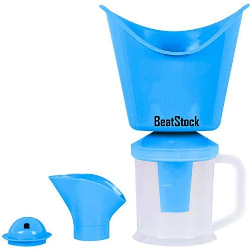 BeatStock, Vaporizer with 3 Attachments Facial Sauna Steamer, Nose Steamer, Cough Steamer, Nozzle Inhaler, Nose Vaporiser, steamer, vaporizer (Blue)