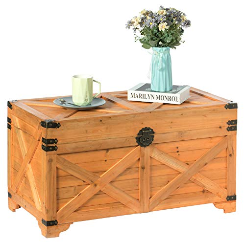 Vintiquewise Barn Design Large Decorative Farmhouse Wooden Storage Trunk Chest, Natural Wood