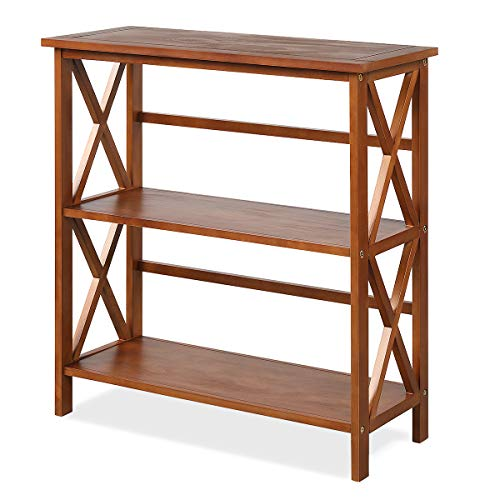 Tangkula 3-Tier Bookcase and Bookshelf, Wooden Open Shelf Bookcase, X-Design Etagere Bookshelf for Home Living Room Office, Multi-Functional Storage Shelf Units for Collection (Natural)