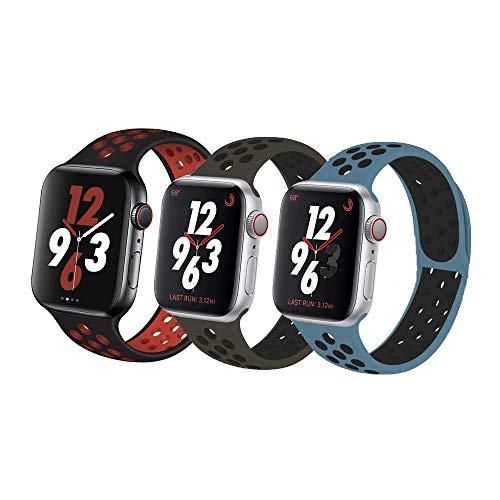 VIKATech Compatible con Apple Watch Correa 44mm 42mm, Correa Deportiva Reemplazo clásico de Silicona Suave Transpirable para iWatch Series 5/4/3/2/1, S/M, 3Pack B