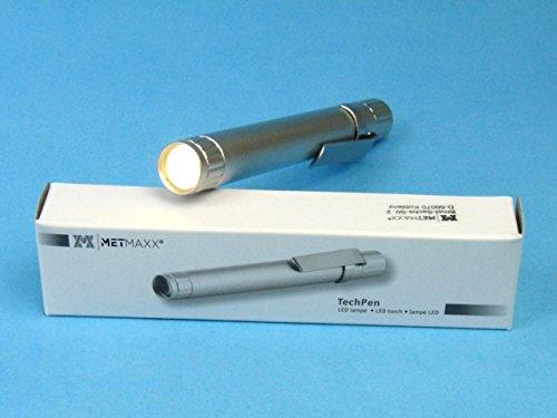 Metmaxx TechPenMedical (Lampada diagnostica a LED) (Argento), Chiaro, focusio, penlight, Lampada Medica, Mini Torcia in Metallo, 11 cm