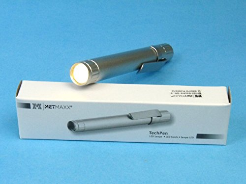 Metmaxx® TechPenMedical (Diagnostikleuchte, LED) (Silber), hell, fokusiert, Penlight, Medizinleuchte, Minitaschenlampe, Metall, 11cm