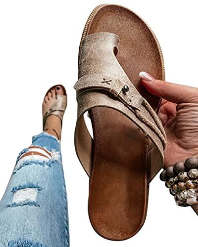 Onsoyours Damen Sommer Big Toe Fußkorrektur Sandale Frauen Bunion Corrector Schuhe Sommer Strand Reise Schuhe Pantolette Big Toe Hallux Valgus Für Die Behandlung Grau 38 EU