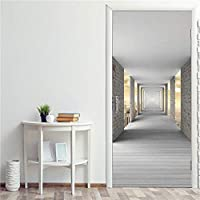 3Dドア壁画ステッカー 廊下3Dステッカー粘着性Pvcポスター装飾ドア壁紙ステッカー