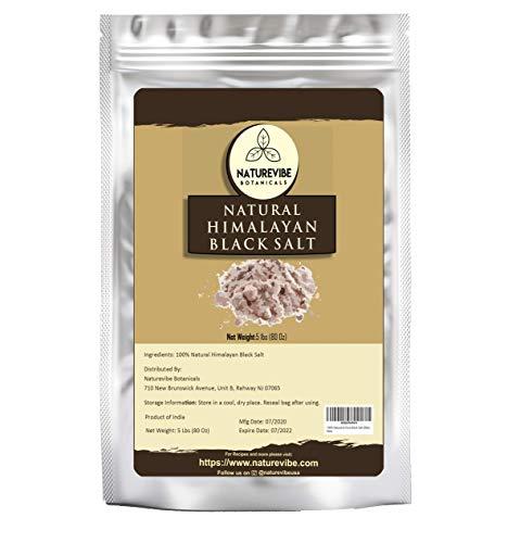 Naturevibe Botanicals 100% Natural & Healthy Himalayan Black Salt, 5lb | (Fine - Cooking Size) | Adds taste and Flavour (80 ounces)