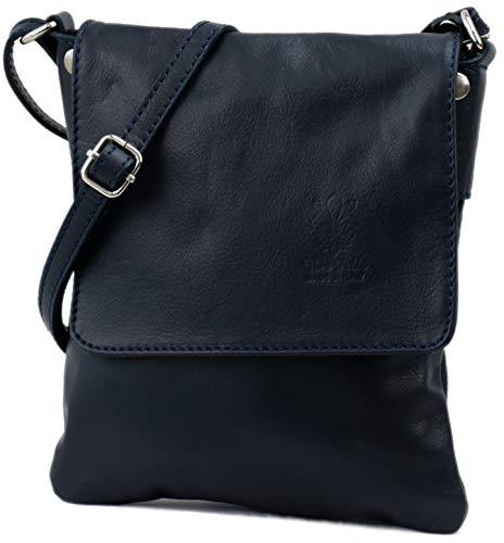 SH Leder ® Umhängetasche Schultertasche Crossover Italienische Handtasche aus Nappaleder 18x21cm Linda G299 (Dunkel Blau)