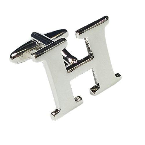 Single Letter H Alphabet Initial Cufflink Formal Business Mix & Match Silver Letter Cufflinks