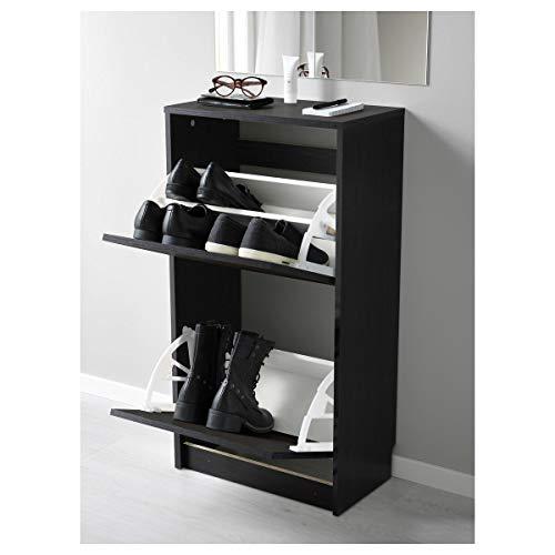 Ikea Bissa - Zapatero con 2 compartimentos (49 x 28 x 93 cm), color negro y...